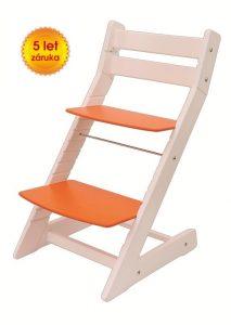 Rostoucí židle Mony - bílá / oranžová
