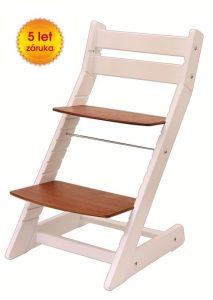Rostoucí židle Mony - bílá / sedák třešeň