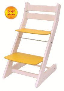 Rostoucí židle Mony - bílá / žlutá