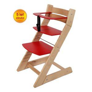 Rostoucí židle Unize přírodní lak / červená