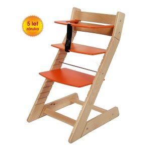 Rostoucí židle Unize přírodní lak / oranžová