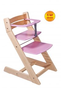 Rostoucí židle Unize přírodní lak / růžová