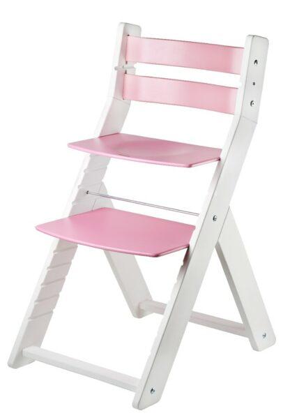 Židle Sandy bílá / růžová