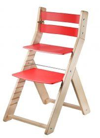 Rostoucí židle Sandy natur lak / červená