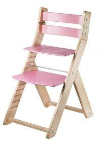 Rostoucí židle Sandy natur lak / růžová