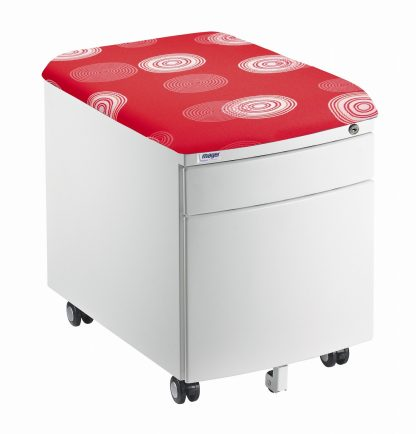 Bílý kontejner Mayer, červený potah s kruhy