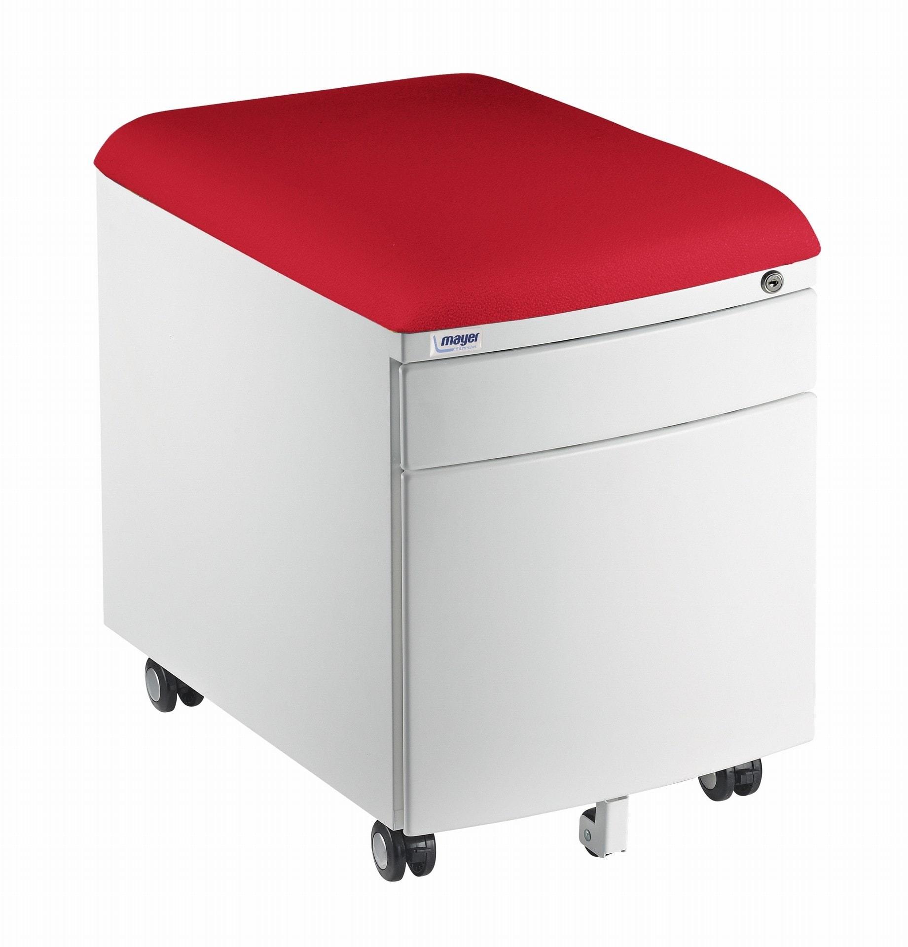 Kontejner Mayer bílý - potah aquaclean červený