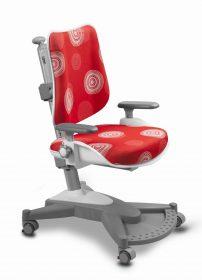 Rostoucí židle MyChamp - červená s kruhy