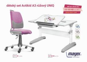 Set rostoucí stůl Uniq + růžový Actikid A3